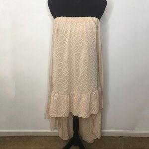 Free People Cream HiLow Strapless Dress